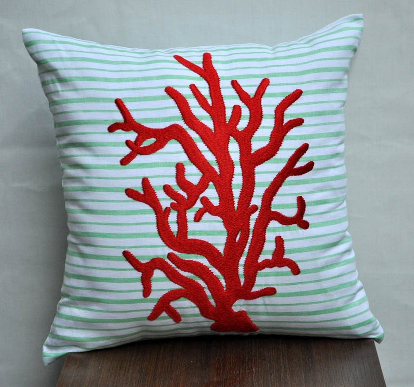 "Red Coral Reef - Throw Pillow Cover - 18"" x 18"" Linen Pillow Cover - Green and White Stripe Linen with Red Coral Reef Embroidery"