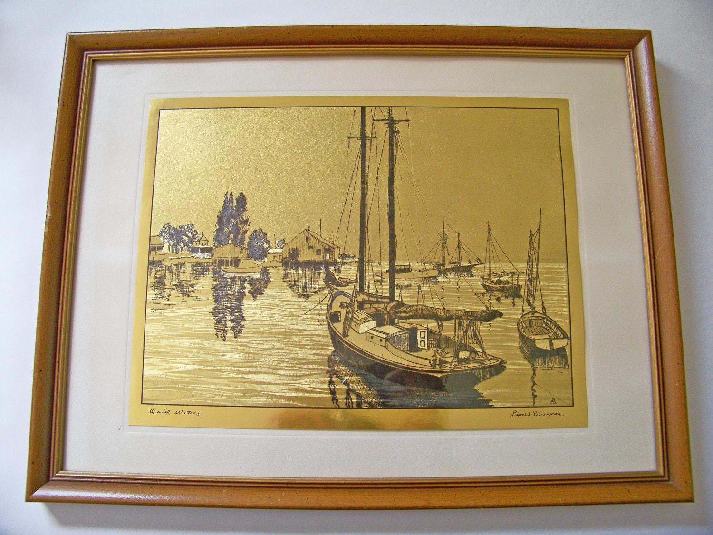 Gold Foil Etching Lionel Barrymore Quiet Waters By Eraglassco