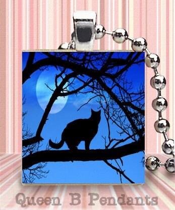 Cat by moon scrabble tile pendant charm art