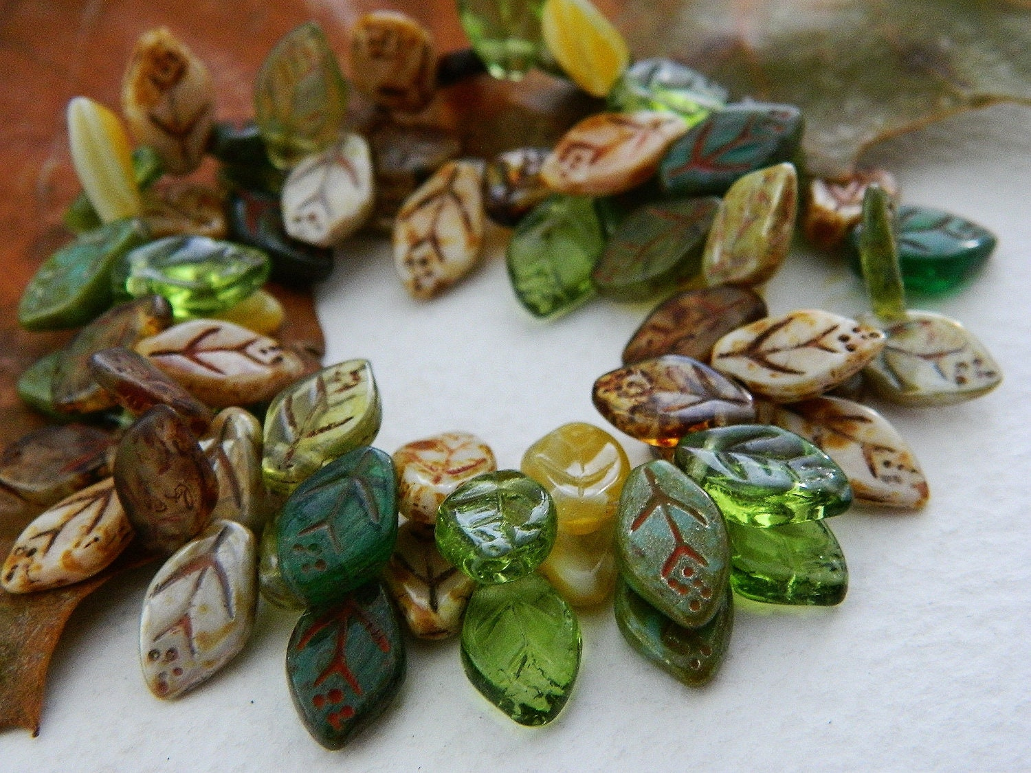 Leaf Beads Czech Glass Beads Brown Green & Olive Mix 12X7mm (36pcs) - yashmacreations