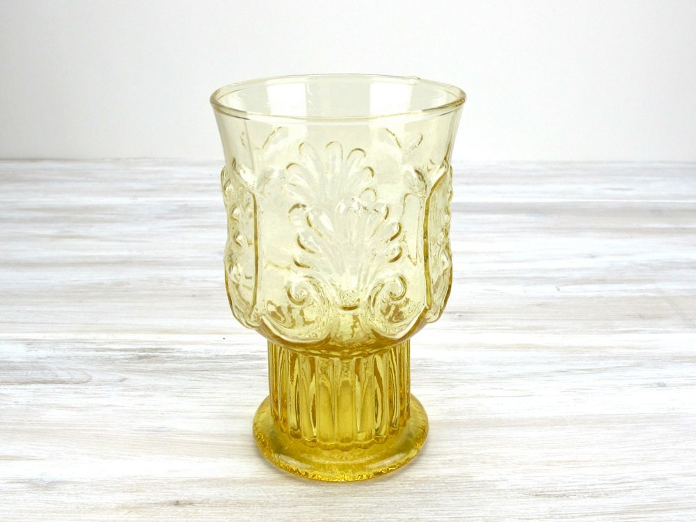 Vintage Gold Tumbler, Amber Glass, Yellow, Gold Glass Cup, Drinking Glass, Footed Glass, Goblet, Epsteam - UnderTheSycamores