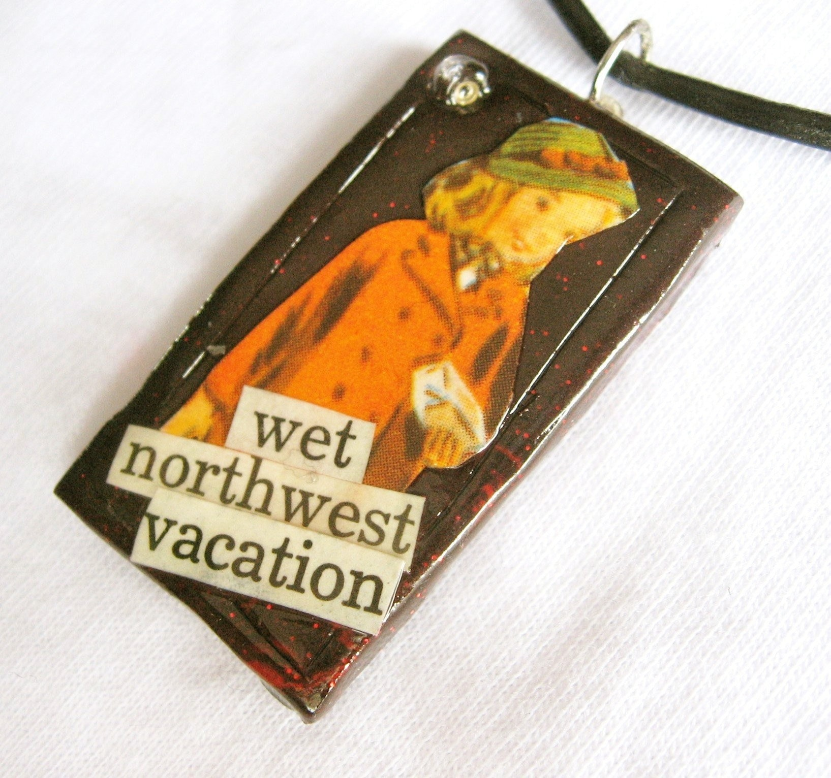 Wet Northwest Vacation pendant (on leather cord)