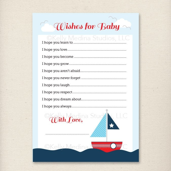 Baby Shower Games - Wishes for Baby 5 x 7 - Printable Digital Baby ...