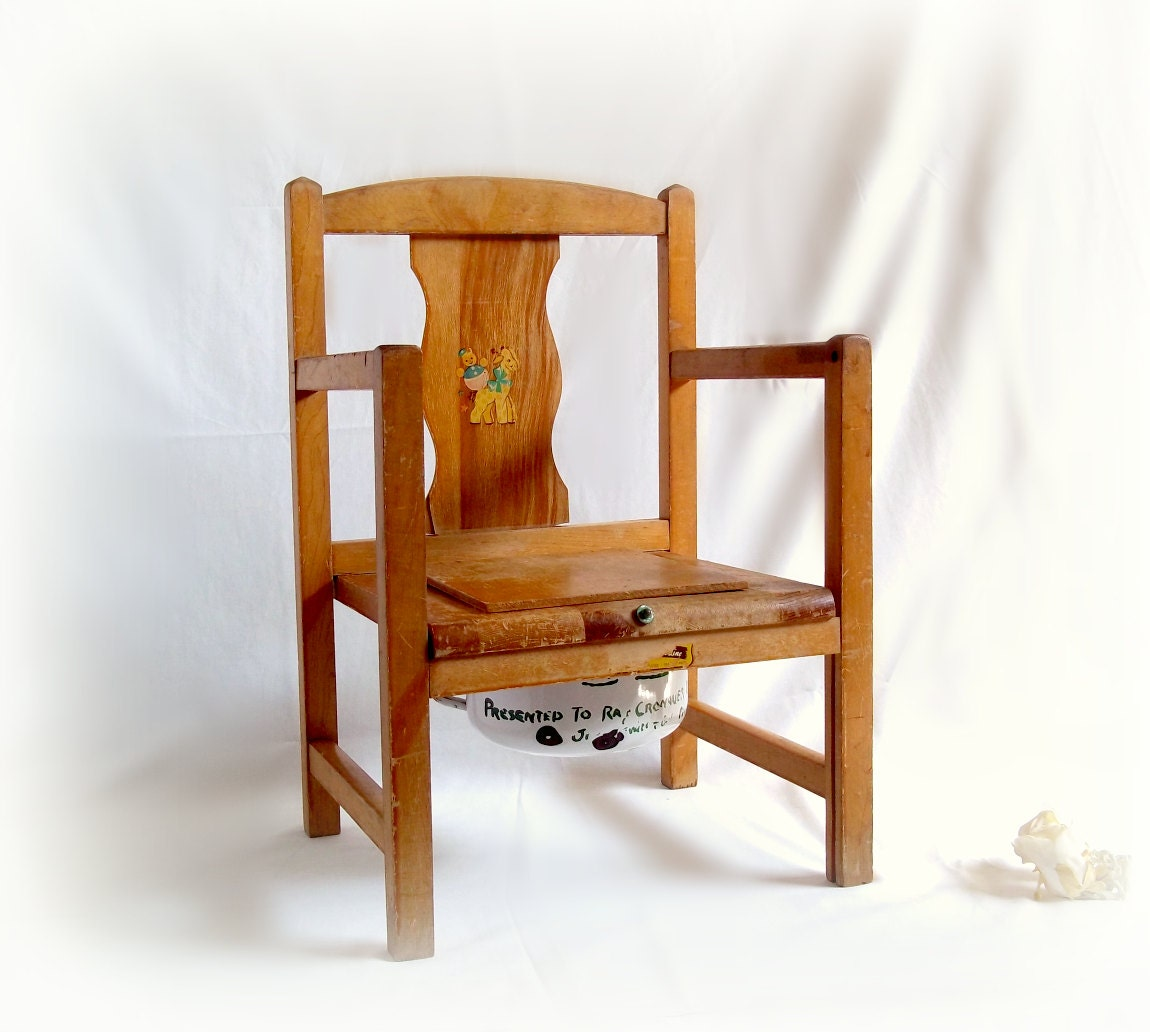 1950s Wooden Potty Chair With Hinged Lid And By