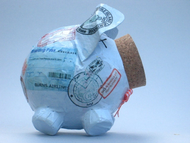 Rudy vacation fund piggy bank by lepig on etsy for Travel fund piggy bank