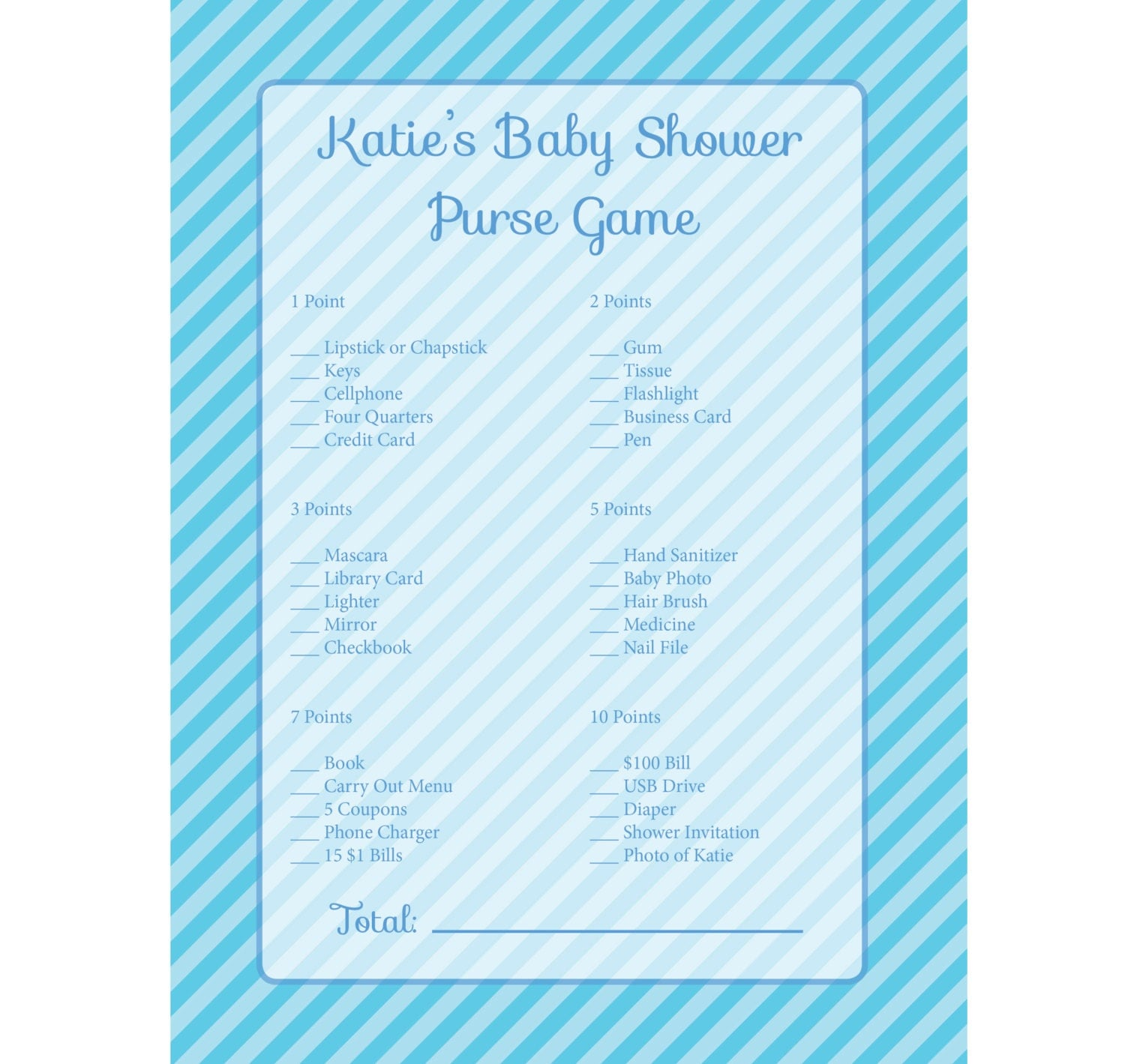 baby shower game blue purse scavenger hunt for baby shower diy custom