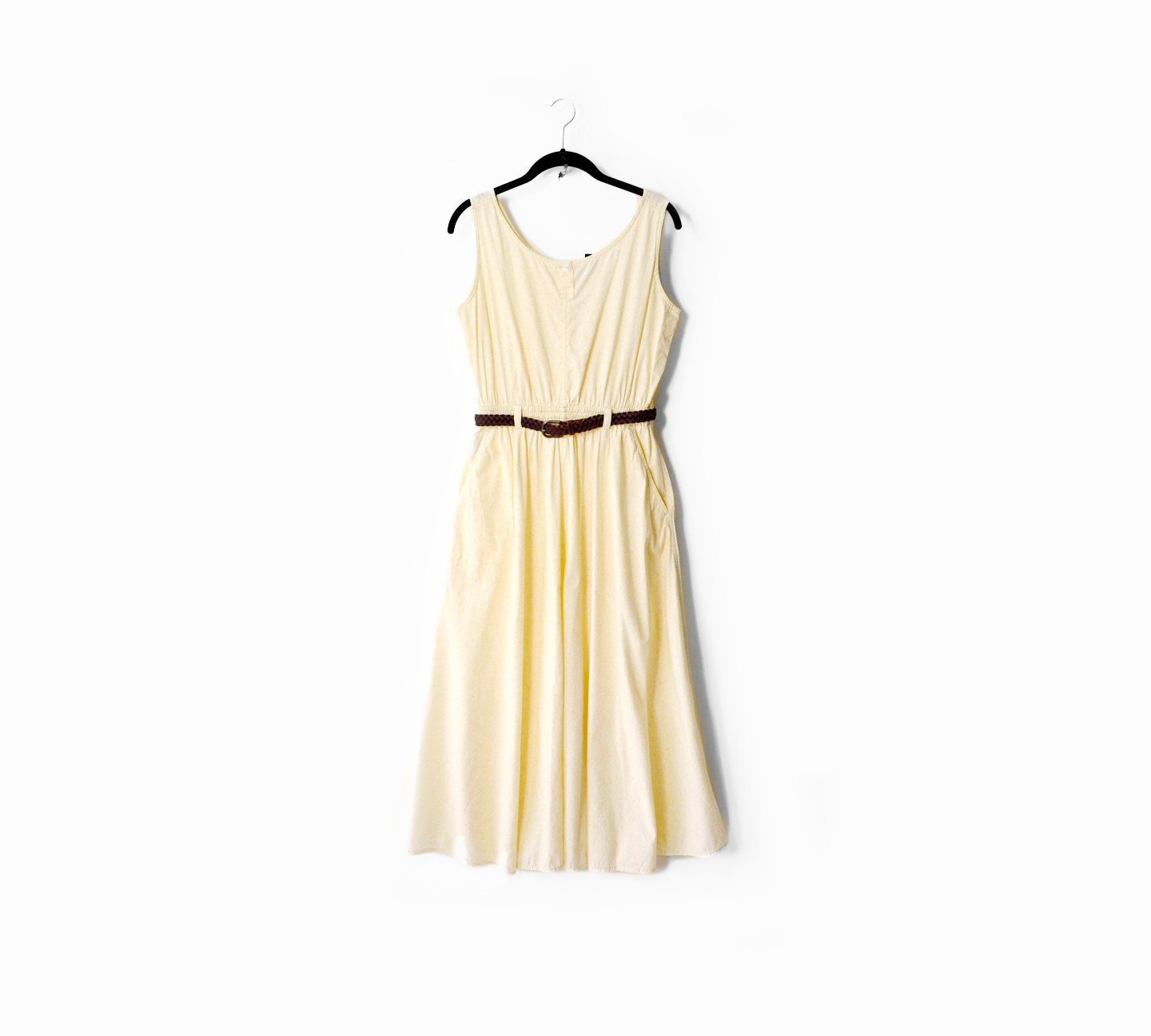 vintage pale yellow maxi sundress ml by twigandspokevintage