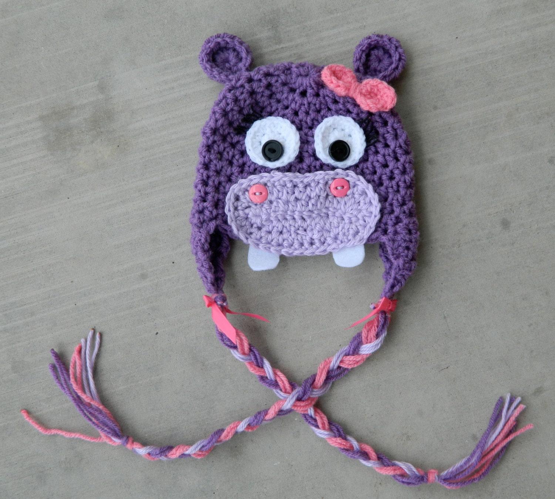 Handmade crochet Purple and Pink Hippo Hat by LittleBirdBands