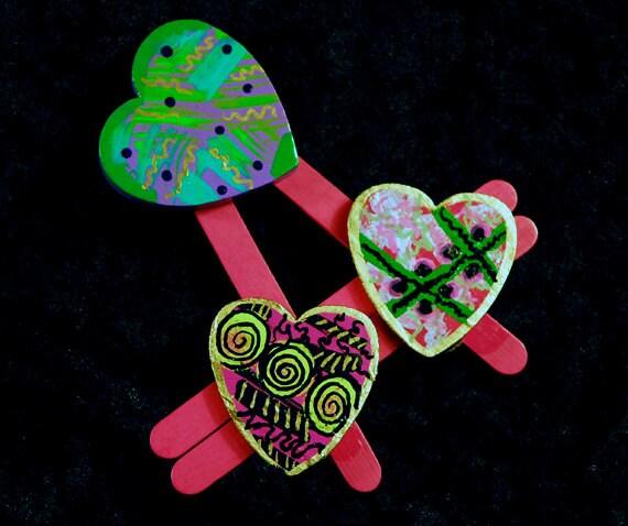 OOAK Kooky Pink Wooden Multi Heart Fridge Magnet - CAKKYSTUFF