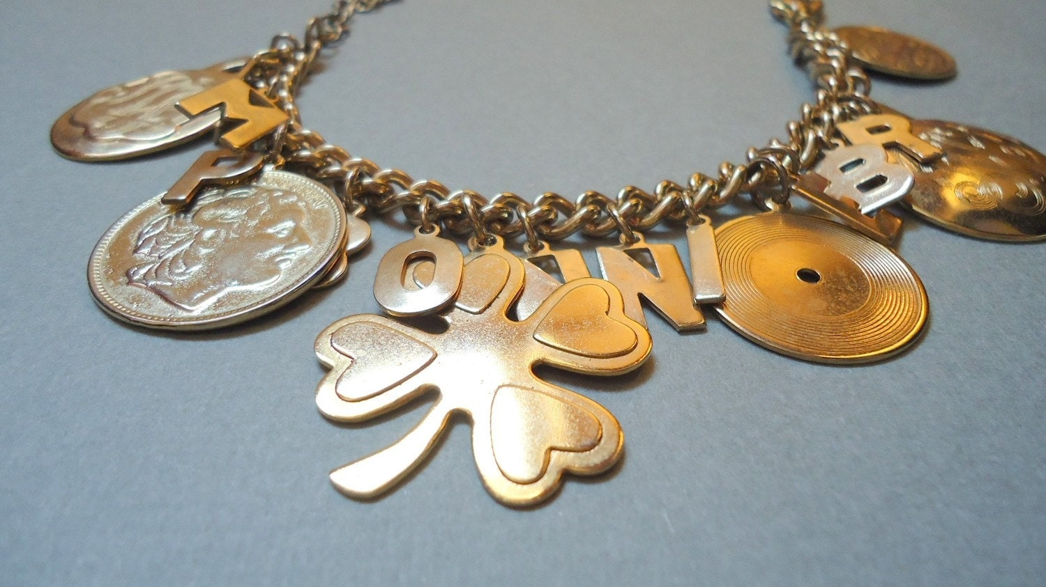 Vintage Charm Bracelet with Various Gold Charms