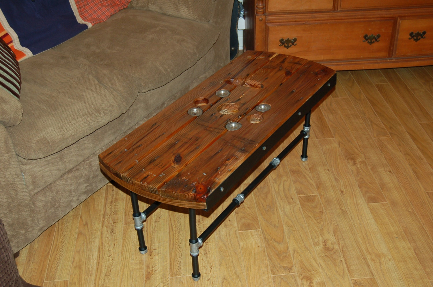 Reclaimed Electrical Cable Spool Coffee Table/Bench