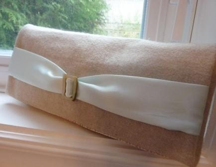 Oatmeal Wool and Pale Aqua Belt Clutch with Vintage Mother of Pearl Shell Buckle