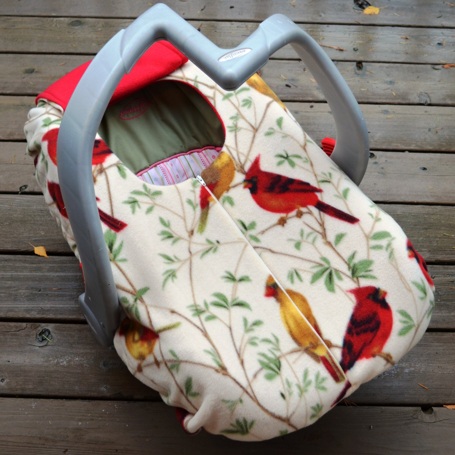 car seat cover in cardinal fleece for winter baby by sophiemarie. Black Bedroom Furniture Sets. Home Design Ideas