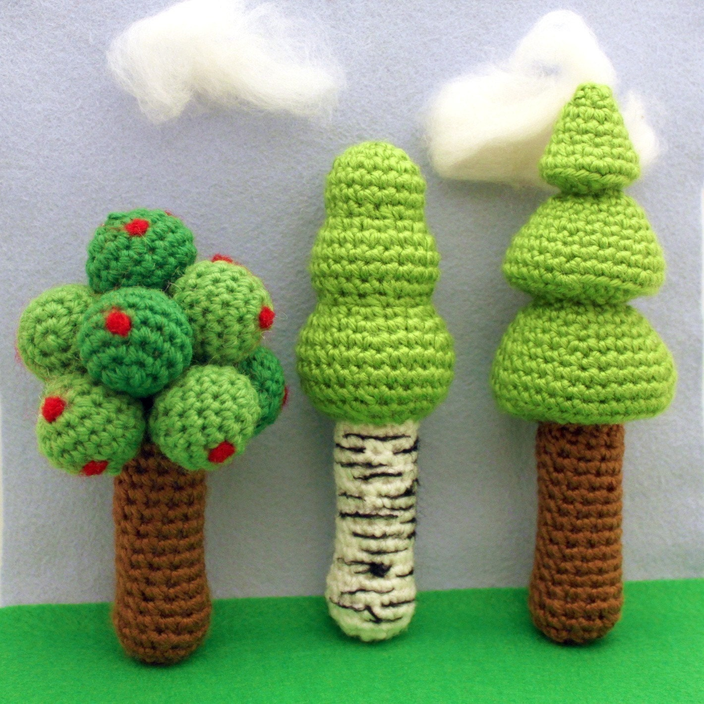 Three Tree Rattles (PDF Crochet Pattern)