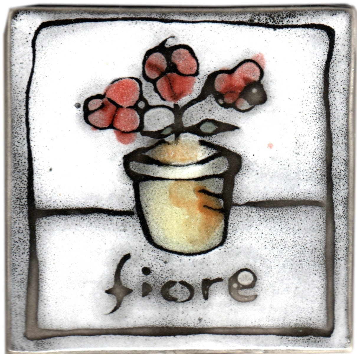 hand made hand painted tile with italian flower pot of geraniums design