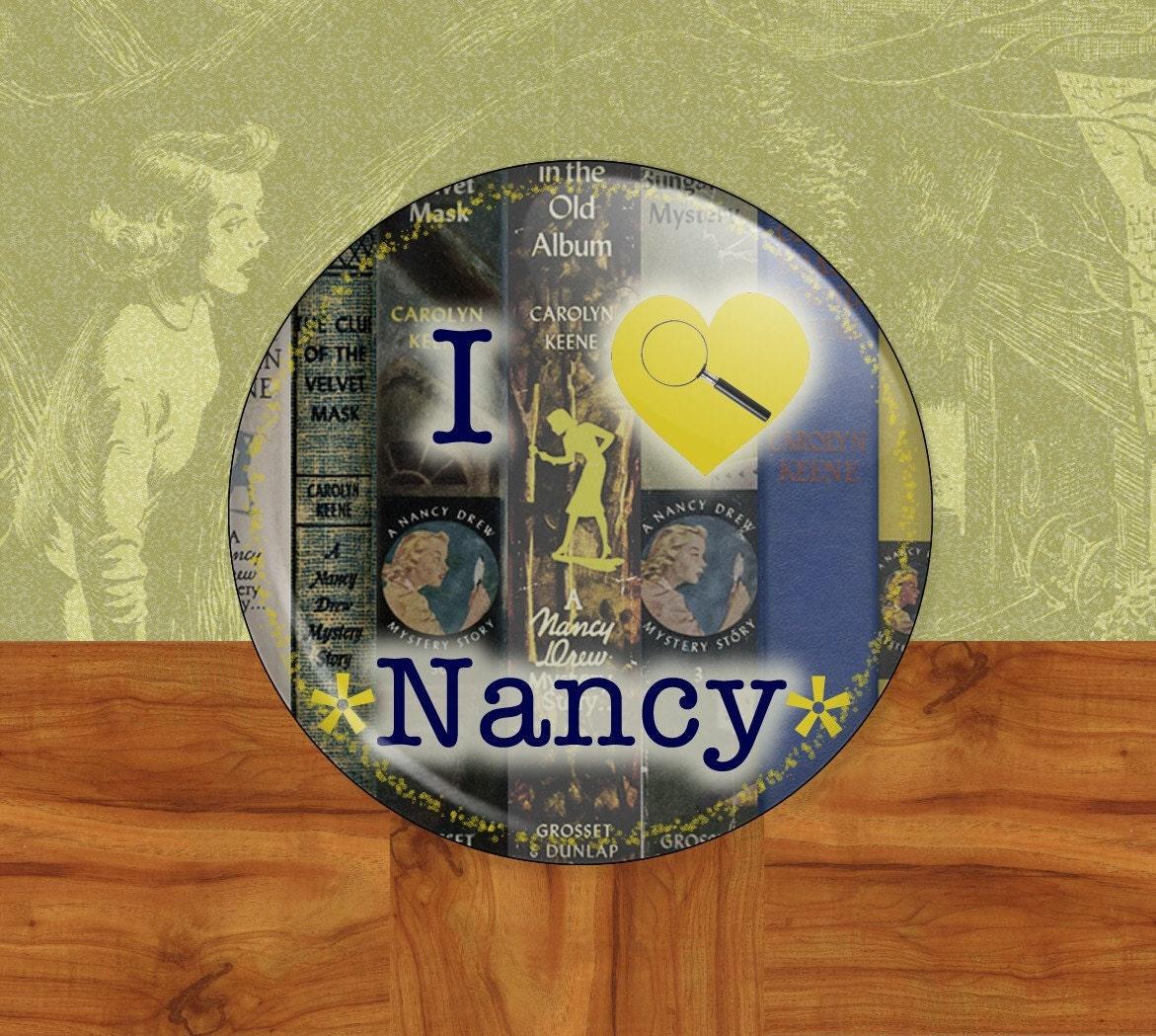 """Nancy Drew - Literature Fan 2 1/4"""" Mirror Back Button"""