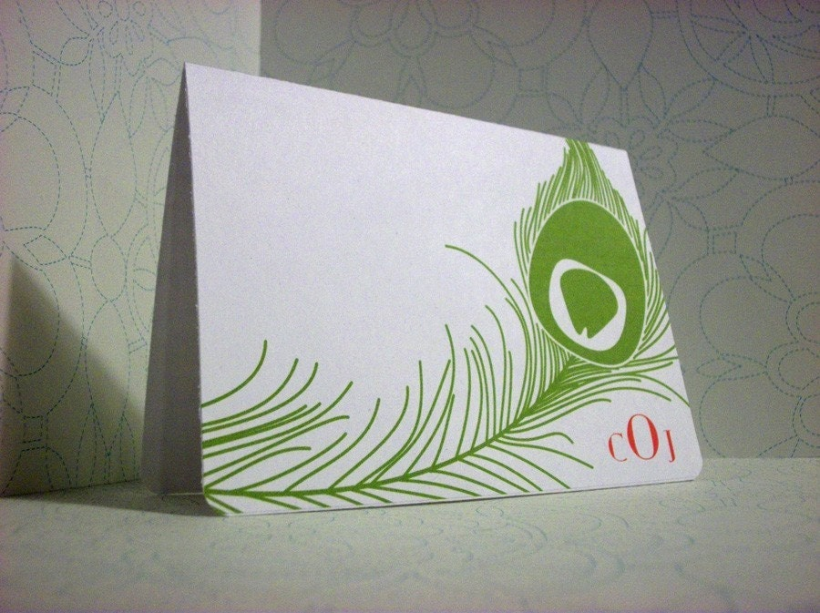Mod Peacock - CUSTOM note cards - set of 10