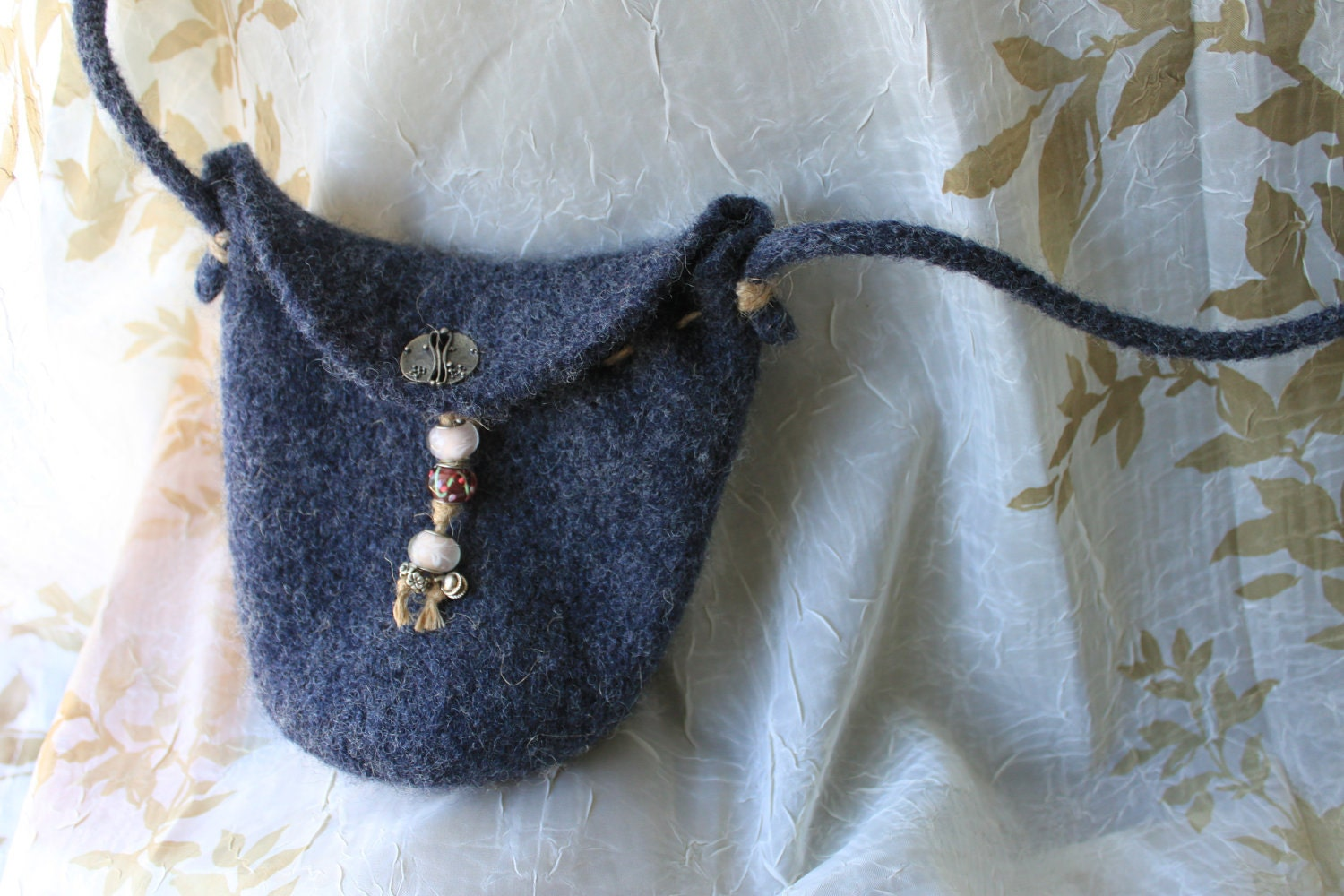 Small grey knit felted beaded purse with hemp stitching and jean pocket - MollysPurl