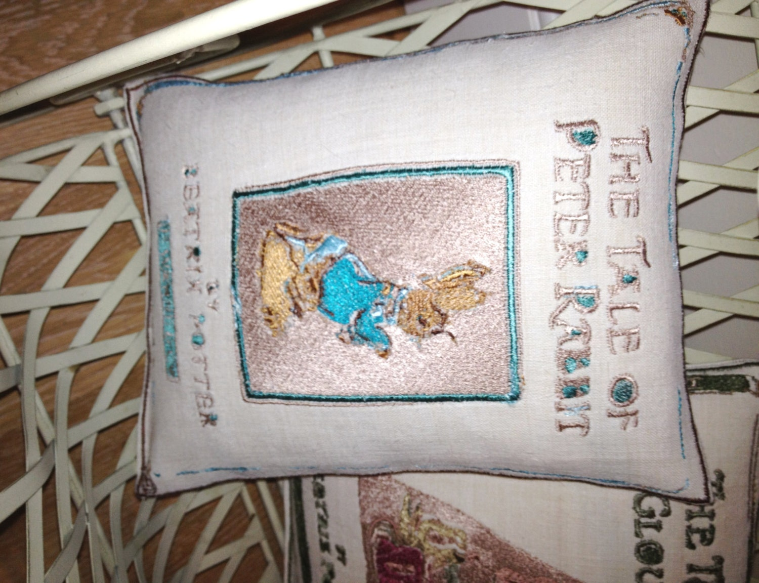 The Tale of Peter Rabbit, Beatrix Potter Artistic Embroidery Cushion Throw - Vintage Linen
