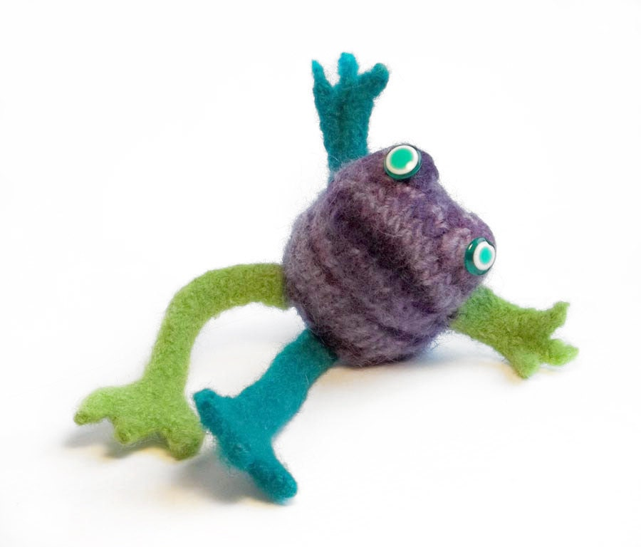 Hand knit frog doll in purple, lime green and turquoise // felted frog doll // happy frog doll