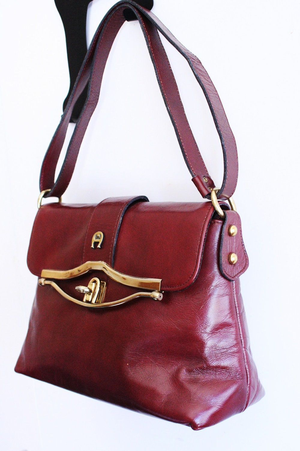 Etienne Aigner Vintage 1970 S Leather Purse Oxblood By