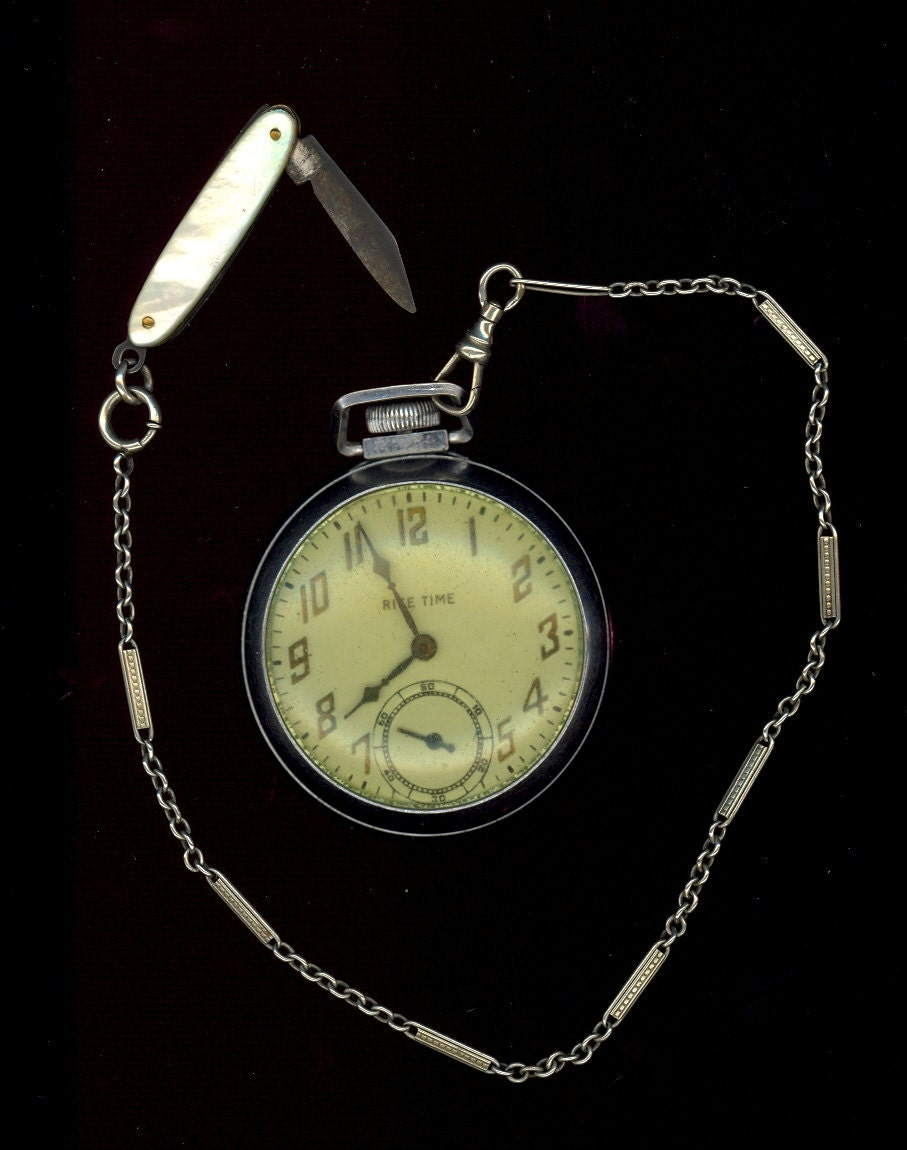 1920s Ingraham Rite Time Pocket Watch with Watch Fob and Pearl Pocket Knife