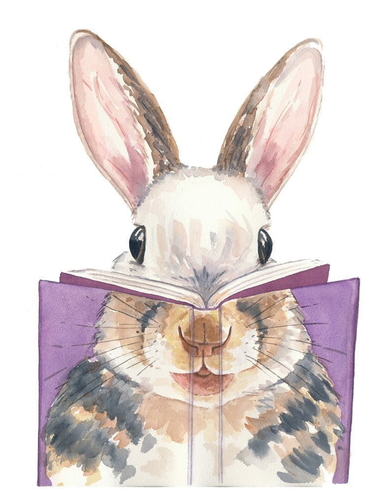 Book Cover Watercolor Painting : Rabbit watercolor painting print book cover by waterinmypaint