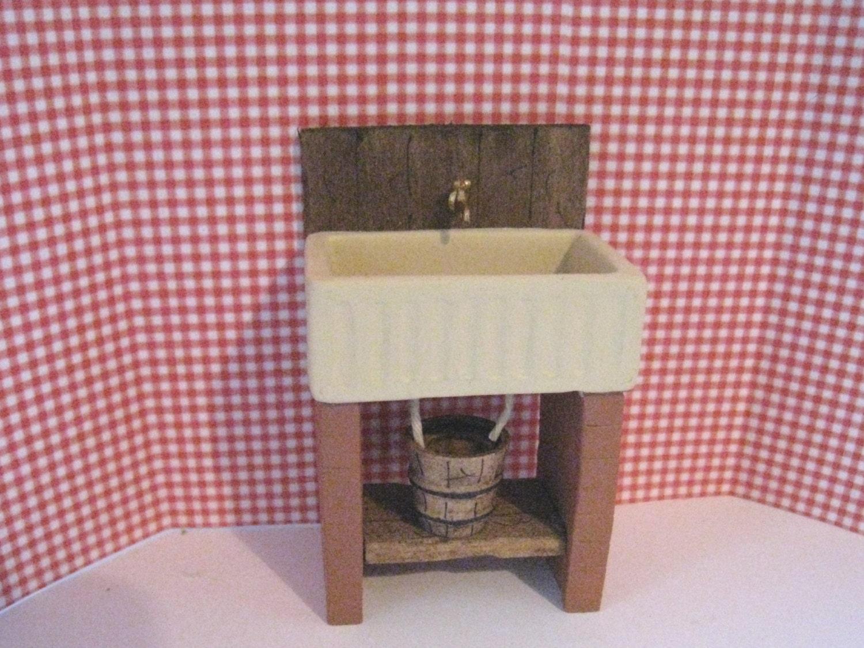 Dollhouse Kitchen sink . small  sink dark oak sink   country sink stone sink  twelfth scale dollhouse miniature