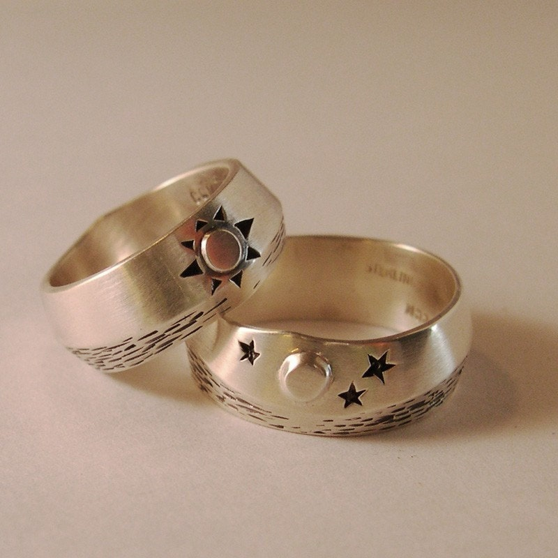 sun and moon water wedding ring set by
