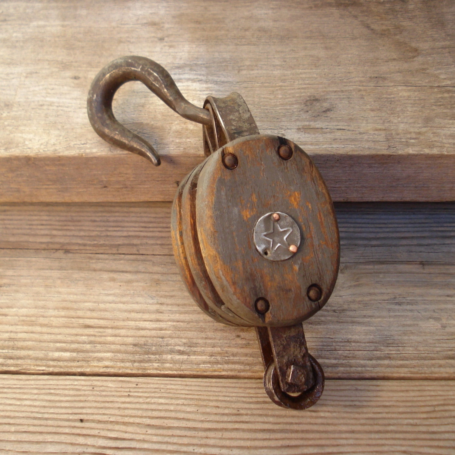 Iron and wood pulley double wheel antique by for Uses for old pulleys