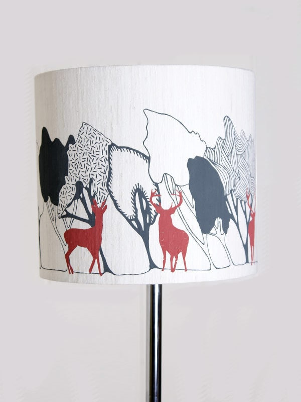 Large Silk Lampshade Woodland charcoal with stag Hand Printed