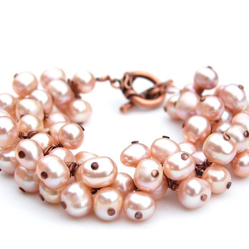 Natural Freshwater Pearls Cluster Bracelet