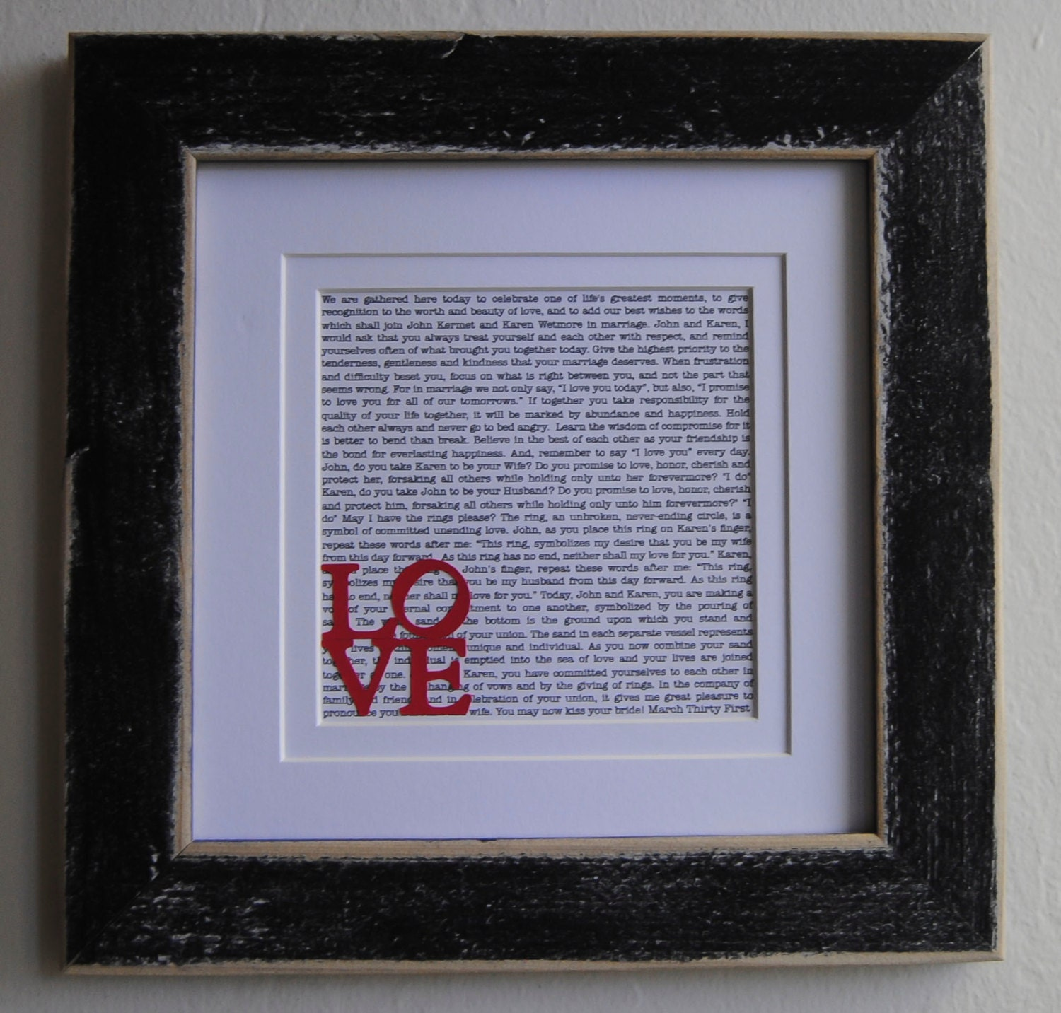 Personalised Wedding Vow Gifts : Wedding Vows/ Custom Wedding Vows/ Gift/ Unique Anniversary Gift ...