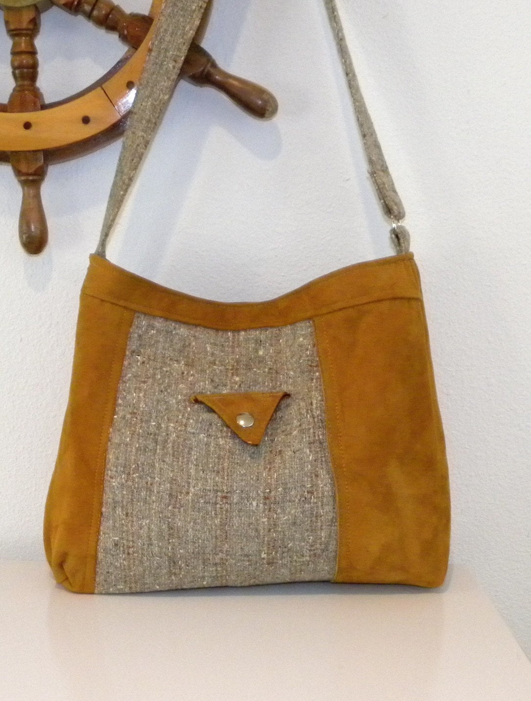 Handmade from a Golden Brown Leather Jacket and Plaid Tweed Coat - Handbag - Tote Bag - Purse
