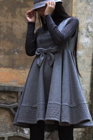grey woolen empire waist wide flare dress