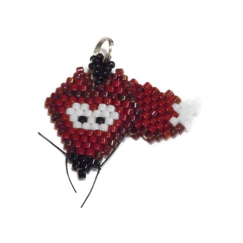 beaded fox charm brick stitch beading seed bead by beadcrumbs