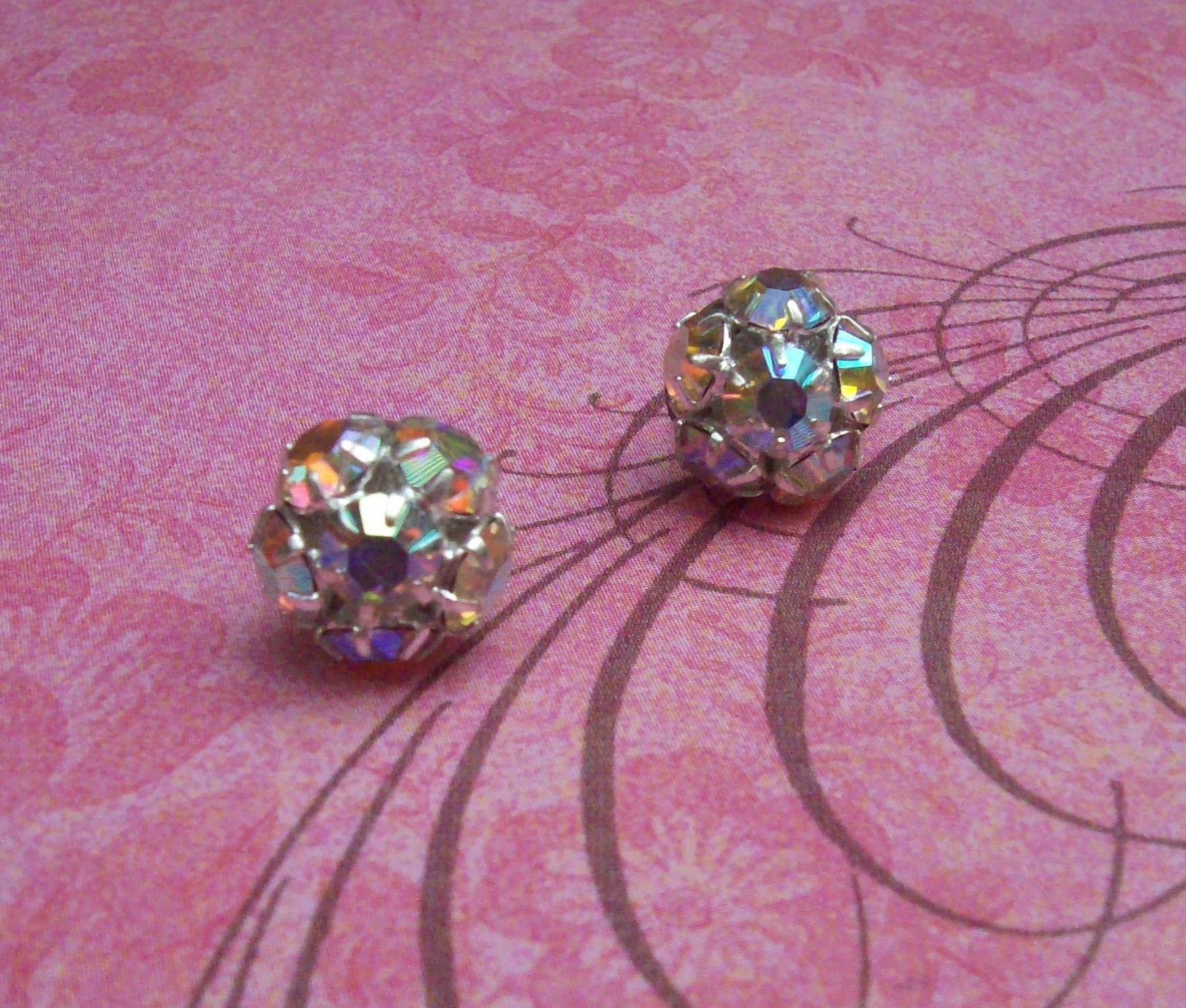 Iridescent Rhinestone Cluster Stud Earrings- Swarovski Crystal