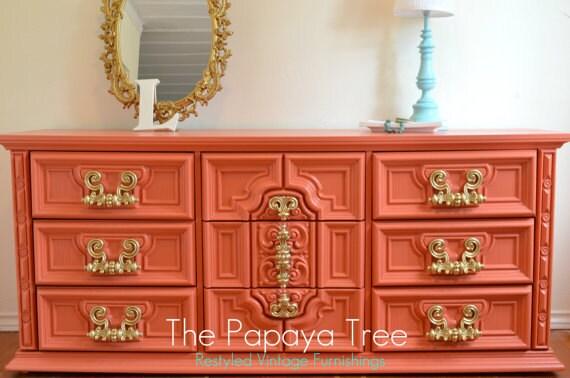 Dresser Custom Order Tangerine Tango Dresser Hollywood Regency meets Spring 2012