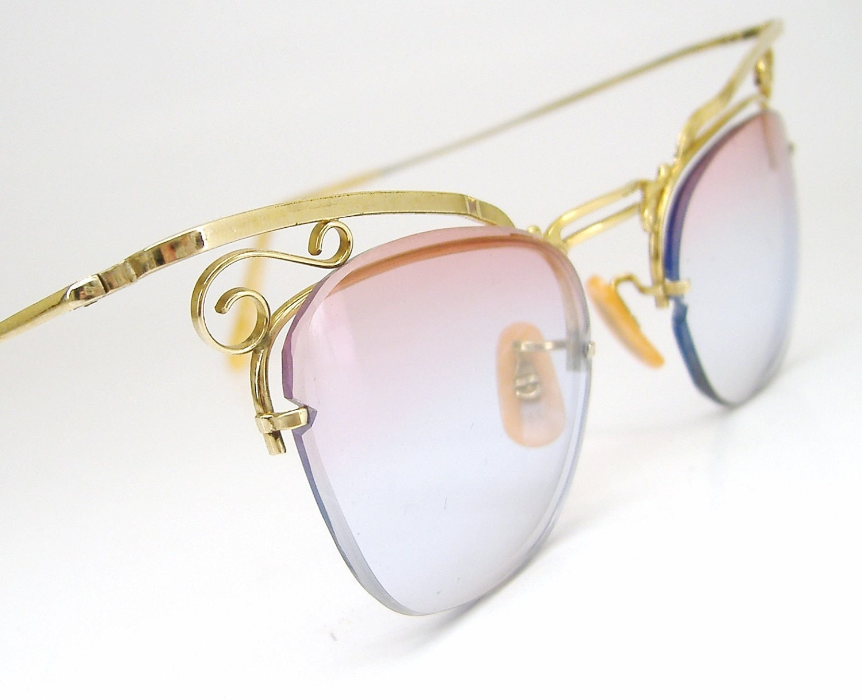 Vintage Gold Frame Glasses : Vintage 50s B&L Gold Cat Eye Eyeglasses Frame by ...