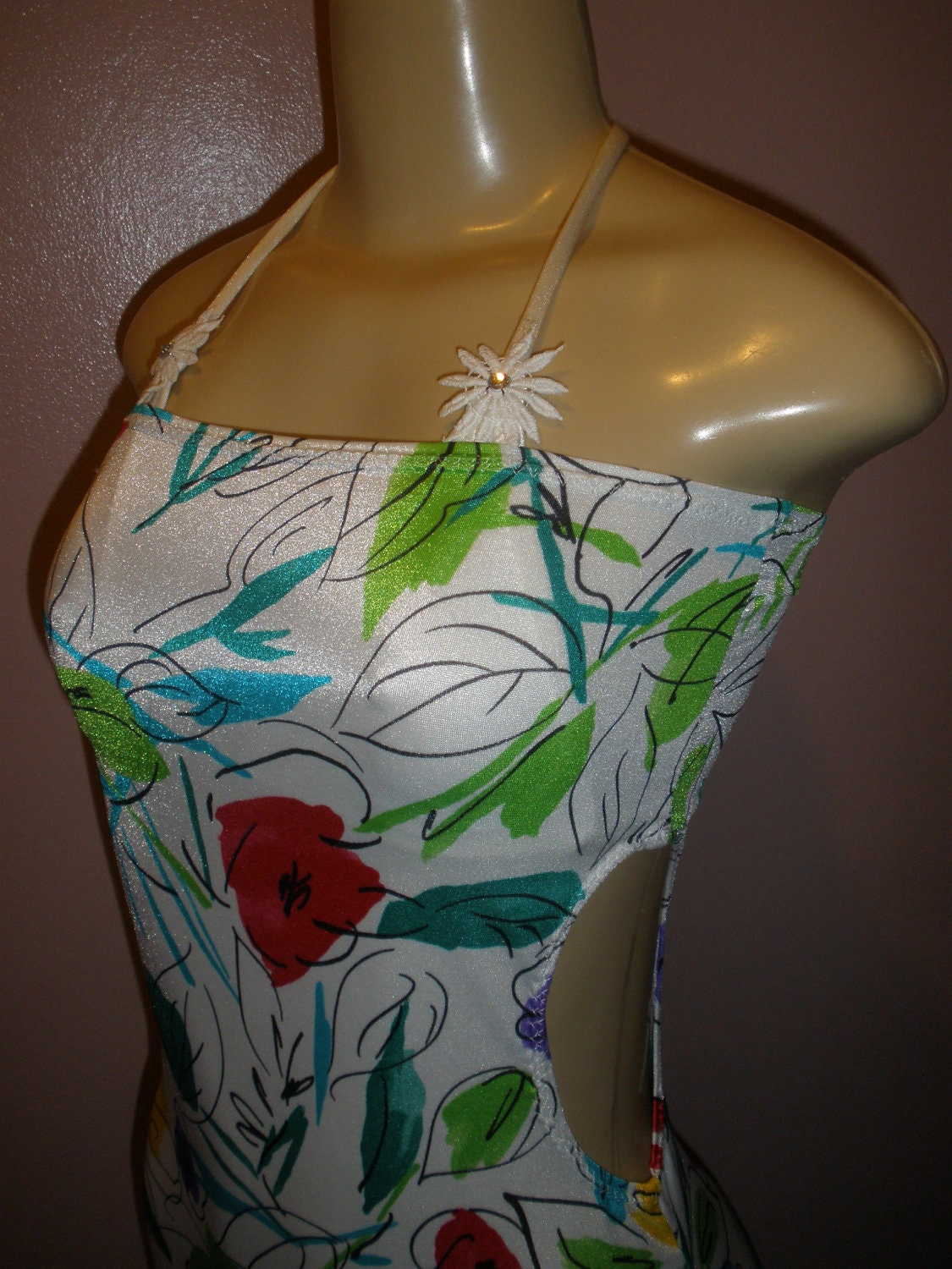 Just So Cute White with Multiple Color Flowers Floral Swim Suit Cover Up Size Small/Meduim