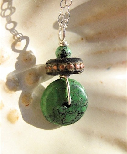 Wee Turquoise Wheel Pendant with Tibetan Mala Bead in Beaded Copper