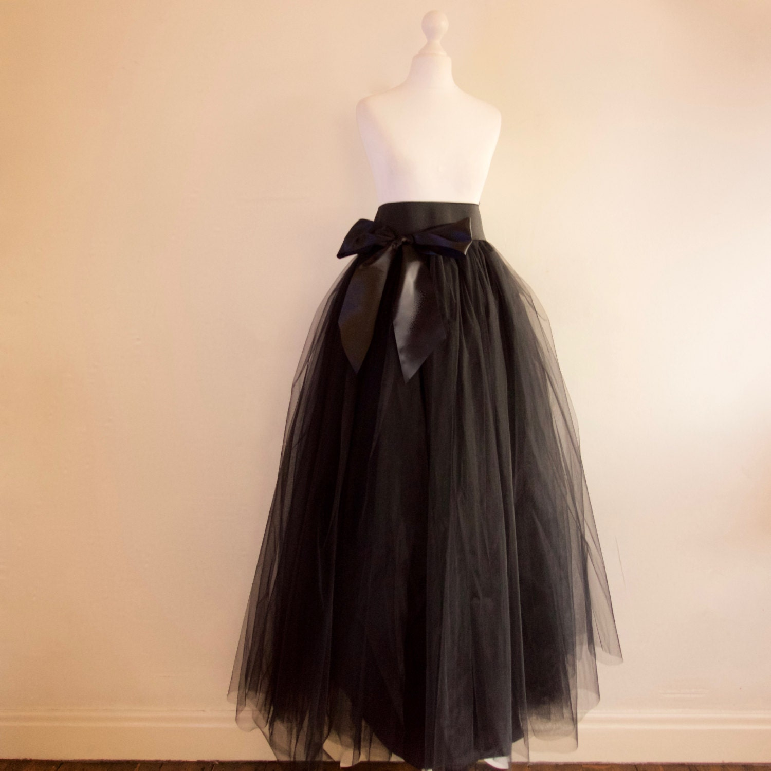 Ladies black tulle skirt made to measure any size