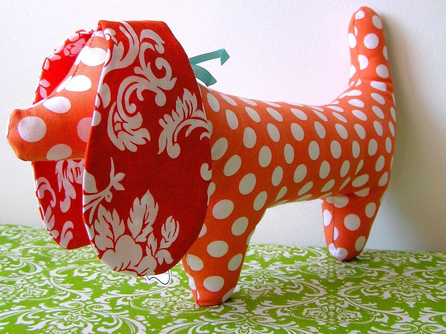 Orange Stuffed Dachshund Toy Dog, polka dots - OurPicketFence
