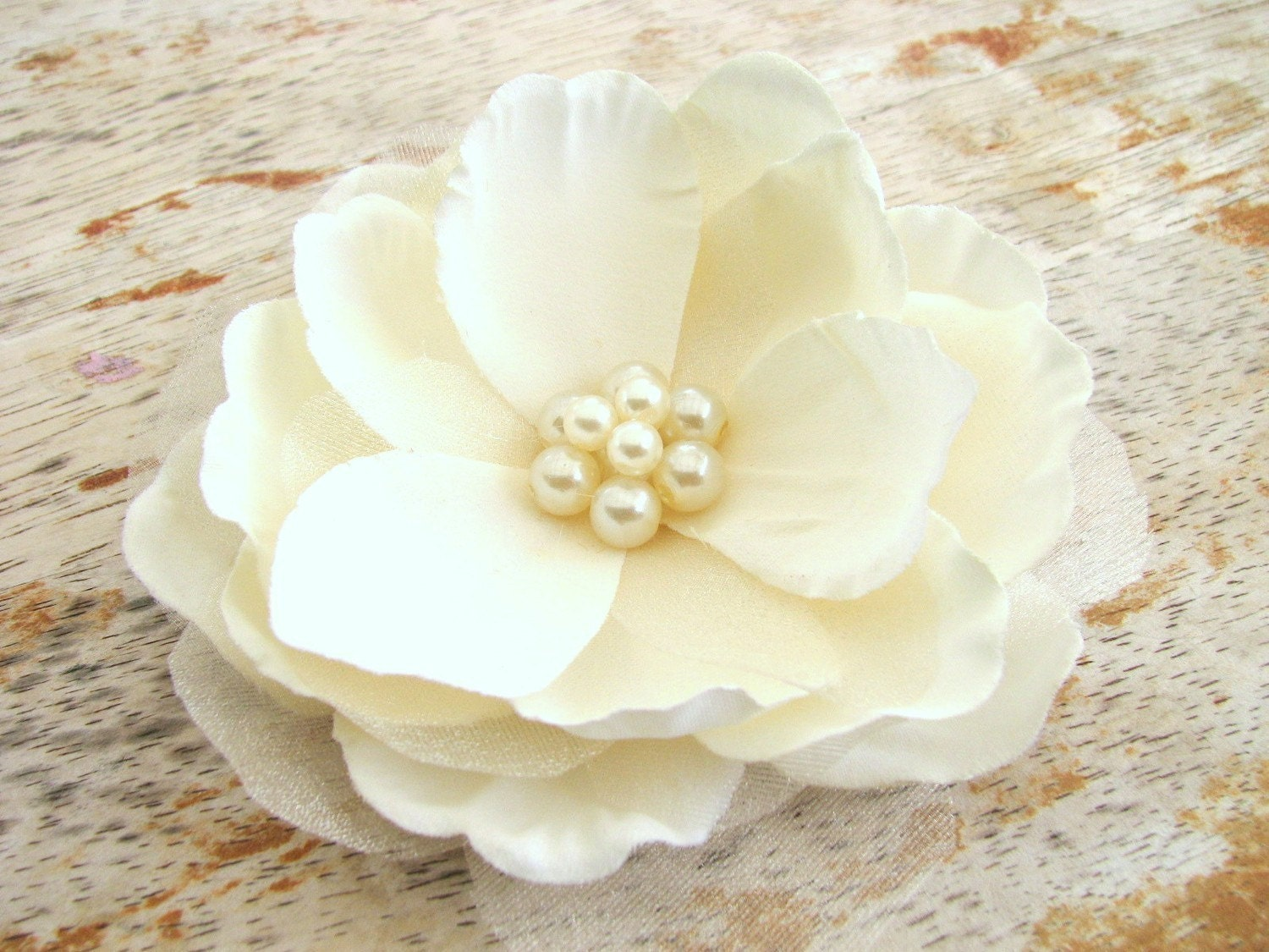 Flower Hair Clip Fascinator Elegant Solid Ivory Magnolia with Large Cluster of Faux Pearls