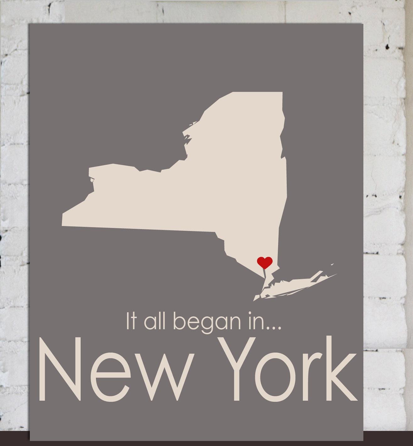 Wedding Gift Nyc : New York State Map, Custom Wedding Gift Heart, Unisex Anniversary ...