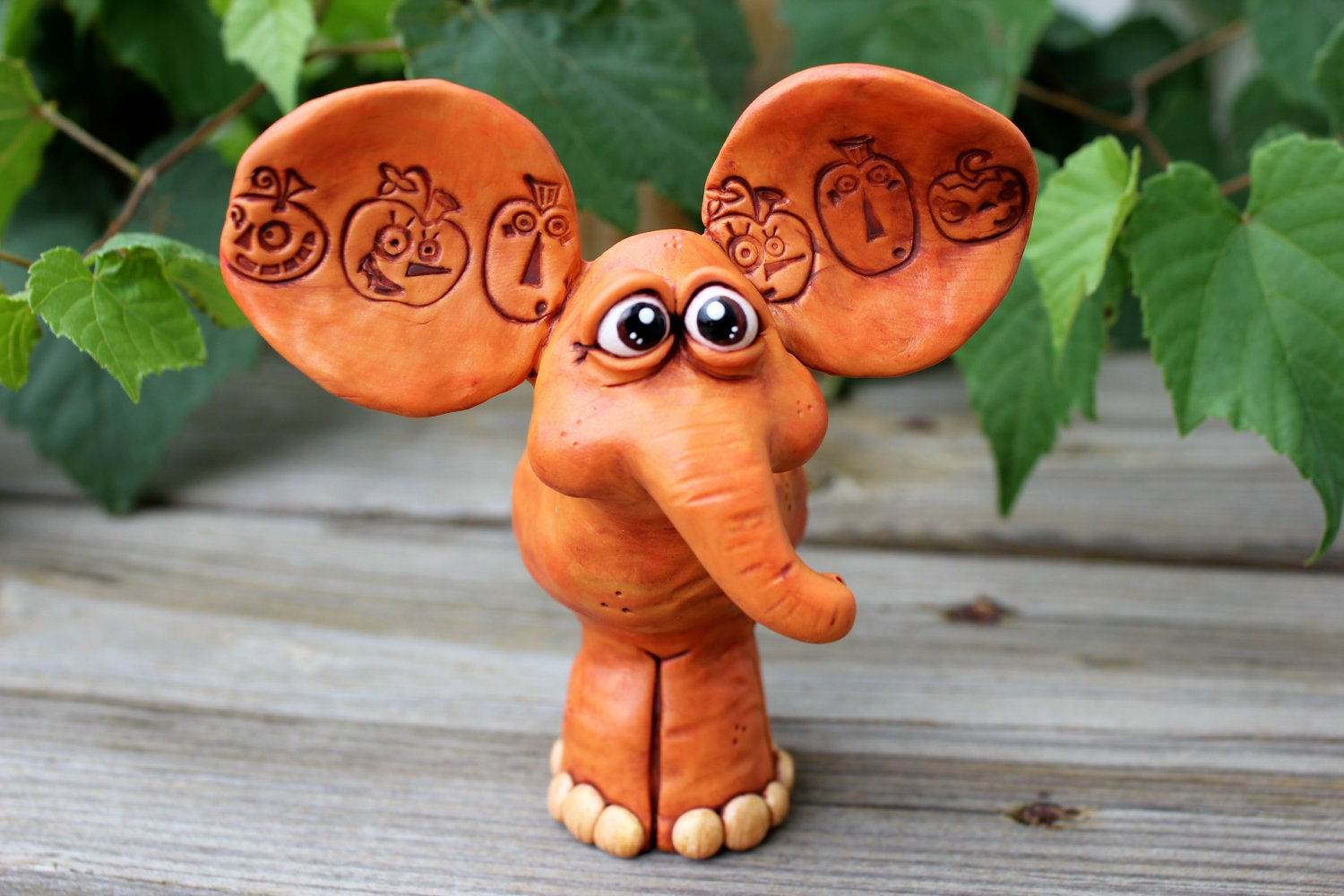 Pumpkin Elephant Polymer Clay Sculpture - mirandascritters