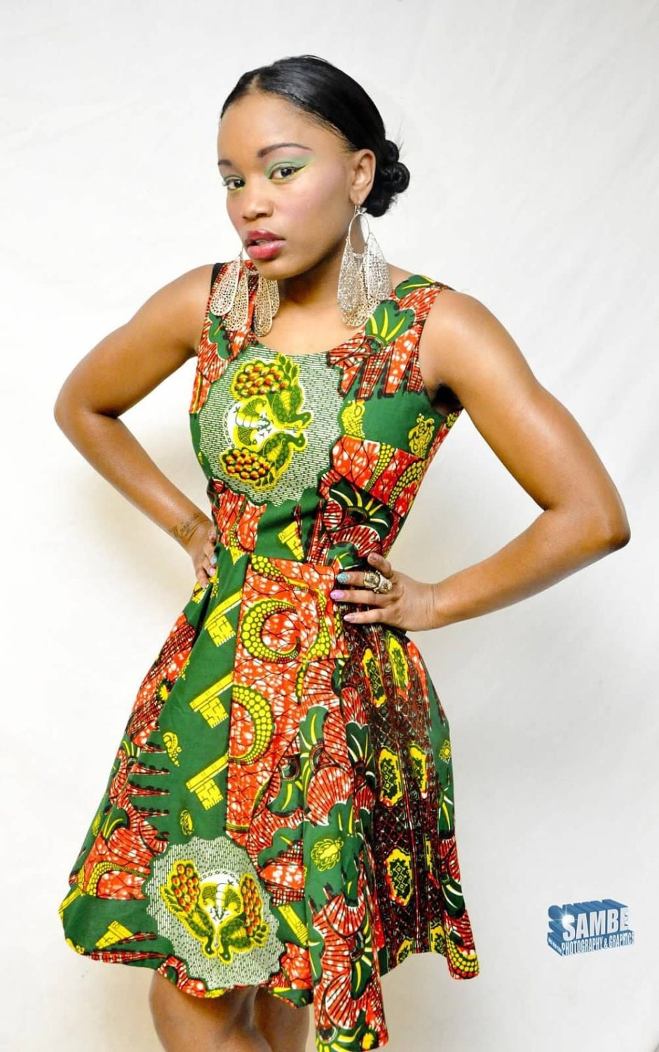African Print Swing Dress small by TabithaCreations on Etsy