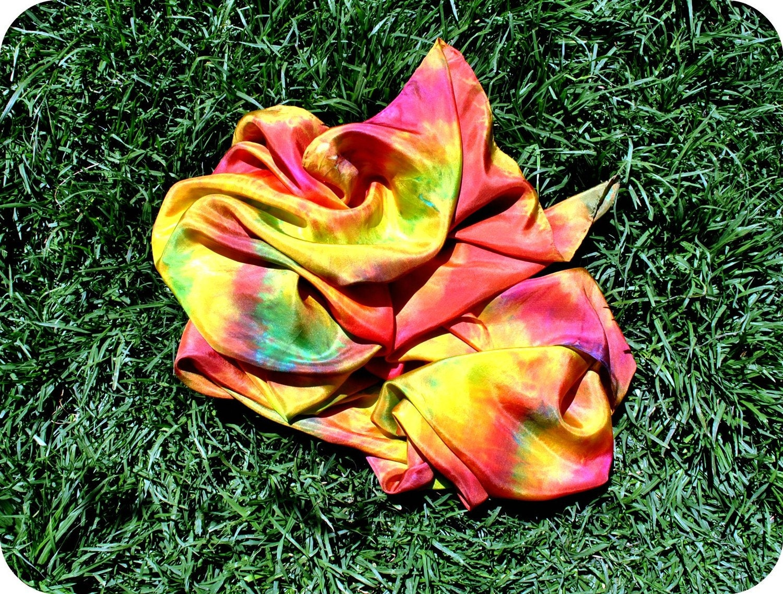 Hand dyed silk mandala scarf