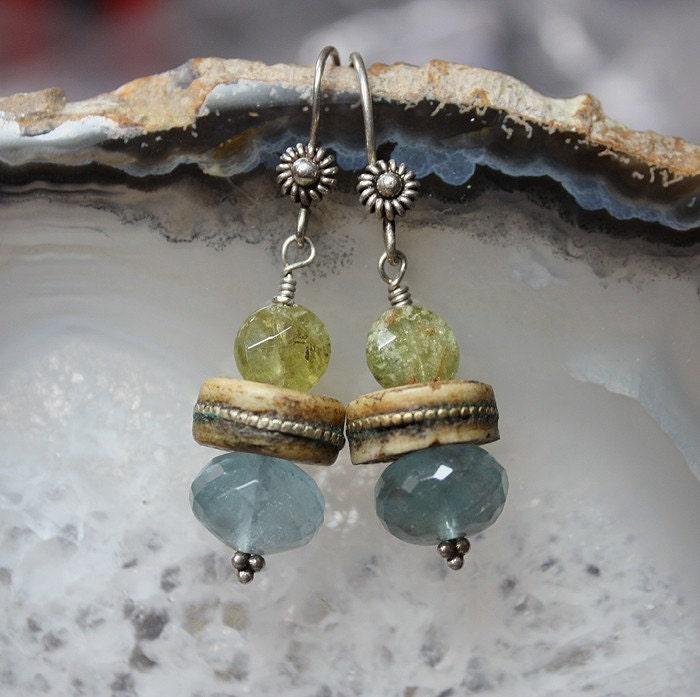 Fluorite-Grossular Garnet-Mala Earrings