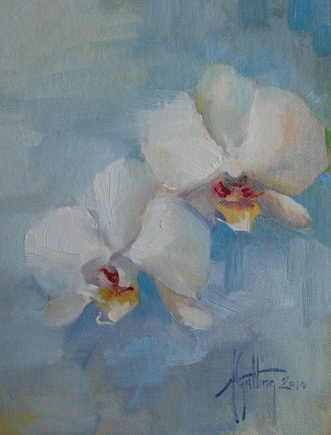 Orchids on blue 6x8 original oil